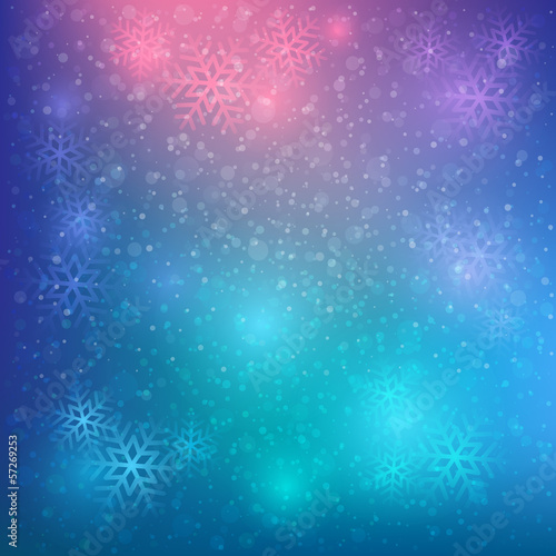 colorful snow and stars background