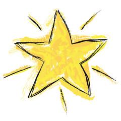 Gelb-schwarzer Stern, handgezeichnet, Vektor/freigestellt