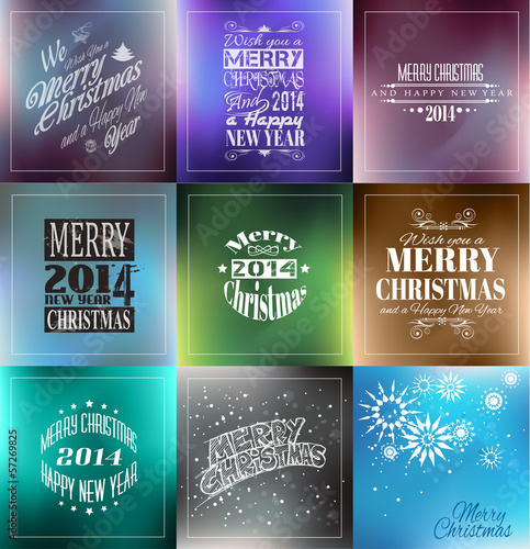 Merry Christmas Vintage retro typo backgrounds