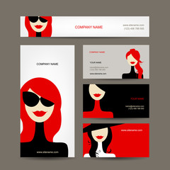 Business cards design with women faces