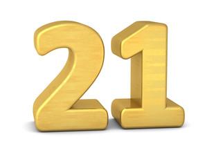 zahl cipher 21 gold vertikal