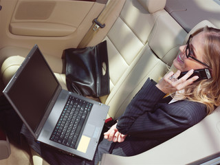 businesswoman with laptop l