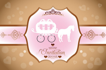 Wedding invitation with horse carriage