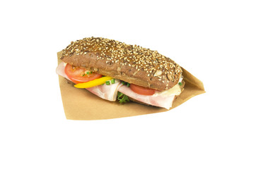 Luxury brown ciabatta sandwich ham and mustard.
