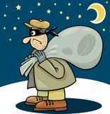 thief with sack cartoon illustration