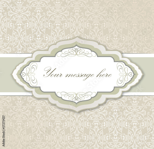 Vintage frame on seamless floral background.