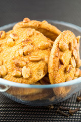 Biscuits background - view of biscuits with almonds