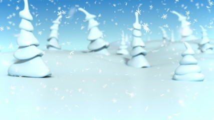 Snowfall in a fantasy forest. 3d animation