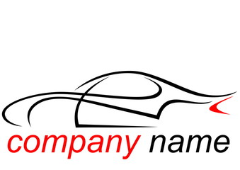Black and red logo of a aerodynamic sports car