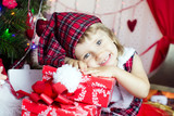 Cute child in santa hat