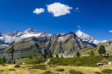 Switzerland Alps trail and landscape in Zermatt
