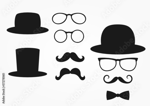 retro design elements, hat, mustache and glasses