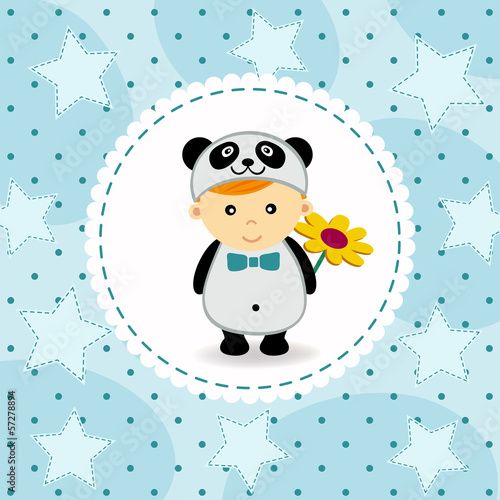 baby boy in suit of panda - vector illustration