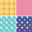 Vector set of fourblue yellow pink geometric patterns and