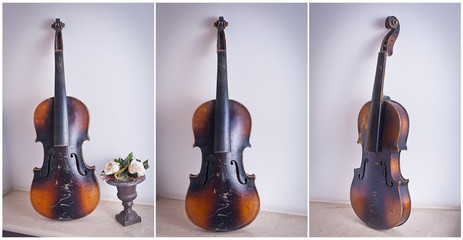old violin leaning against the wall near a vase with roses