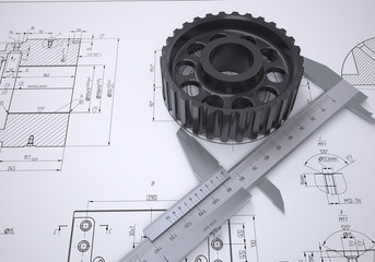 Caliper and gear in the drawing