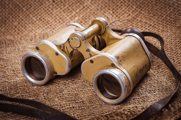 Old German military binoculars closeup
