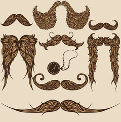 Set of hand drawn brown patterned mustaches
