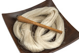 Raw silk yarn and spools of old loom