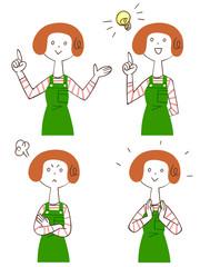 主婦の4種類のポーズと表情