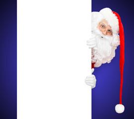 Santa und blauer Hintergrund