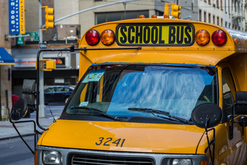 A yellow school bus in New York
