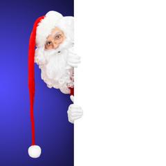 Weihnachtsmann auf blauem Hintergrund