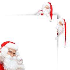 Weihnachtskarte mit vielen Weihnachtsmännern