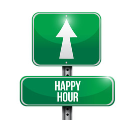 happy hour road sign illustrations design