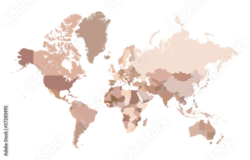 Multicolored world map, Vector illustration.