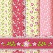 Set floral seamless for scrapbook.
