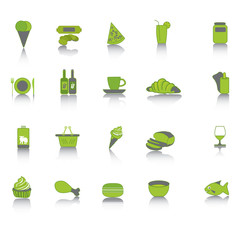 Green food collection set icons.