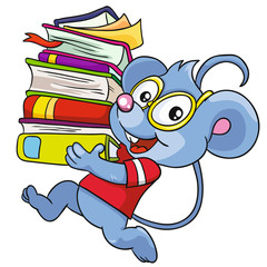 Mouse with books on a white background, vector illustration