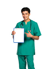Portrait of doctor Arab nationality with health record on white