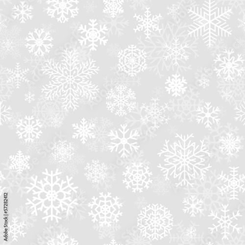 Christmas seamless pattern with snowflakes on gray
