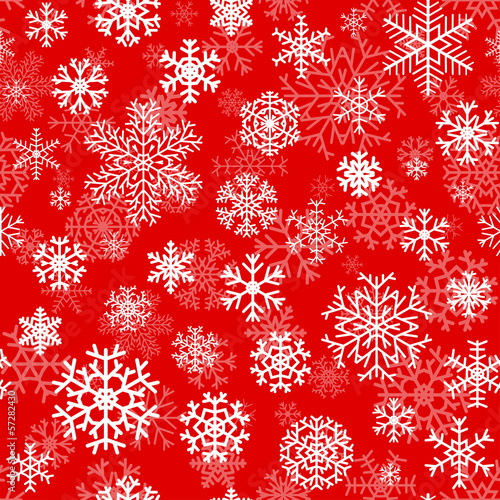 Christmas seamless pattern with snowflakes on red