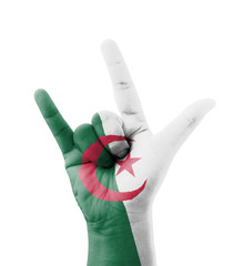 Hand making I love you sign, Algeria flag painted