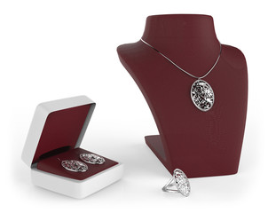 claret red jewelry set