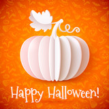 Bright Halloween white paper vector pumpkin