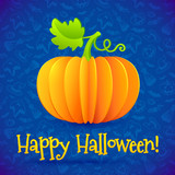 Bright Halloween orange paper vector pumpkin