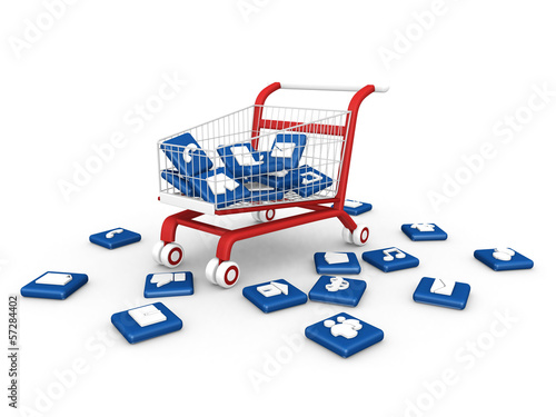 social media symbol with shopping cart.