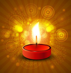 Beautiful diwali lamp colorful vector background illustration