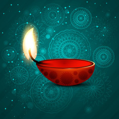 Beautiful diwali illuminating Diya for Hindu festival background