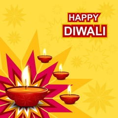 Beautiful diwali greeting card rangoli colorful background