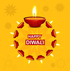 Diwali illuminating Diya for Hindu festival Beautiful design
