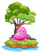 A pink monster crying in the island