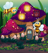 Dragonflies near the enchanted mushroom house