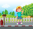 A young boy standing at the streetside near the wooden mailbox