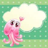 A lovable pink monster with an empty cloud template poster