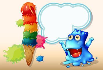 A happy blue monster beside the huge icecream